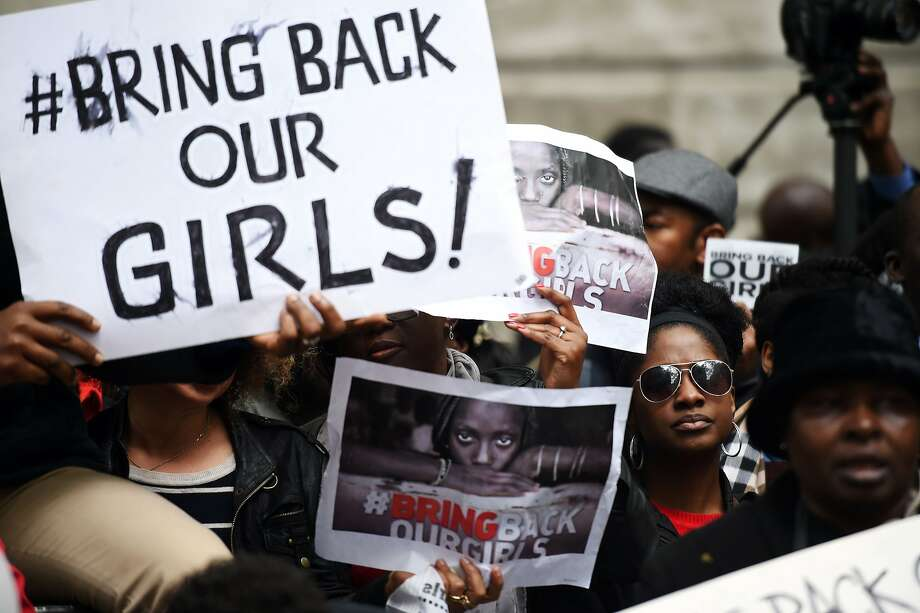 Protesters demonstrate against the kidnappings outside Nigeria House in central London. Photo: Leon Neal, AFP/Getty Images