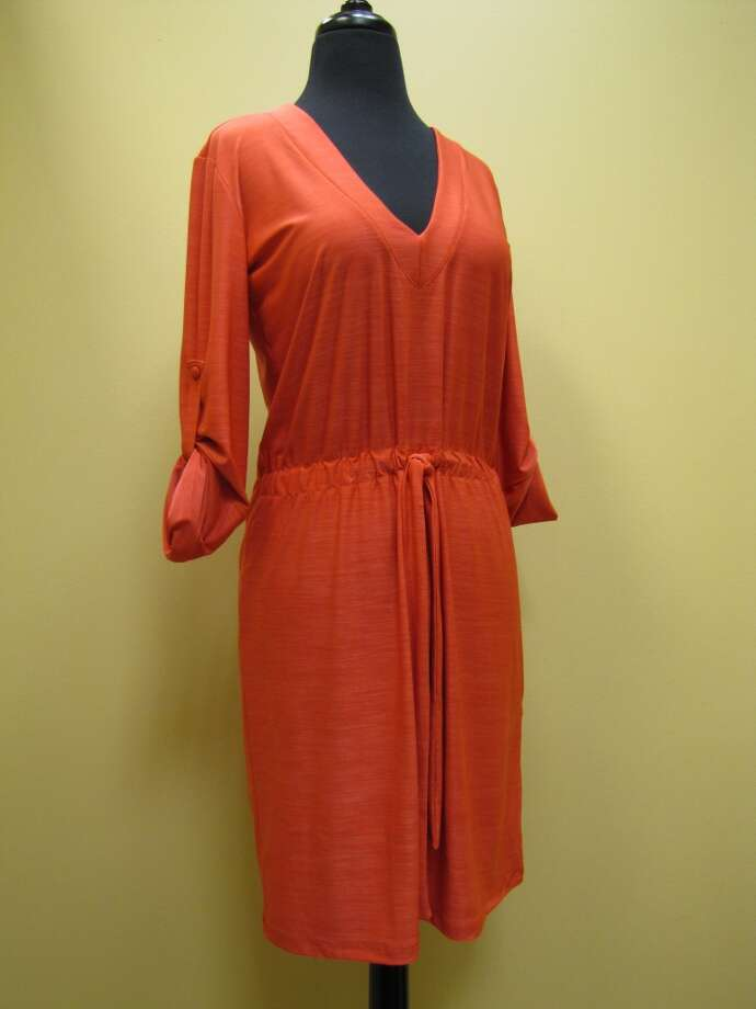 Orange drawstring dress, $92, Apricot Lane Boutique, Beaumont