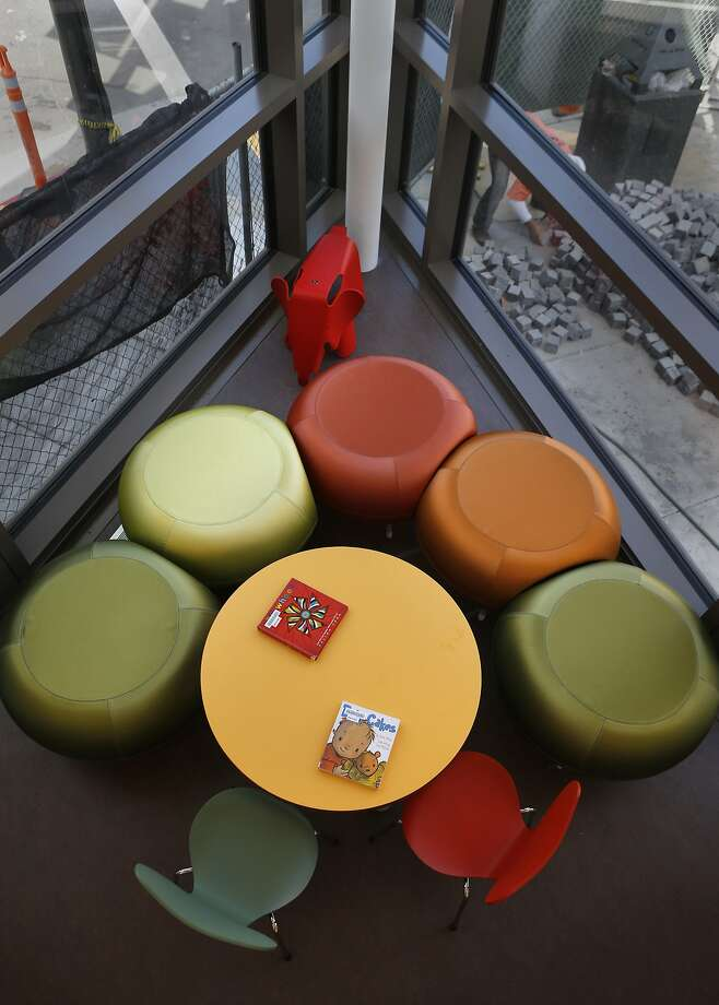 The corner of the children's room in the new North Beach branch library offers fresh perspective on the neighborhood. Photo: Michael Macor, The Chronicle
