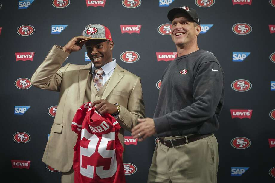 The first-round pick from Northern Illinois, Jimmie Ward, with Jim Harbaugh in Santa Clara. Photo: Sam Wolson, Special To The Chronicle