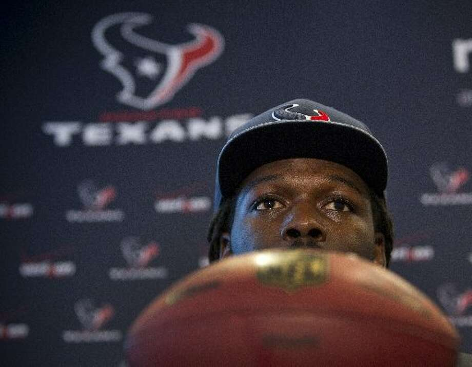 Jadeveon Clowney speaks to the media as he is introduced during a news conference. Photo: Brett Coomer, Houston Chronicle