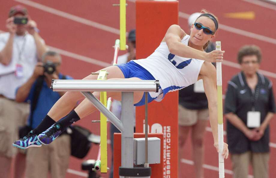 Emory Rains' Charlotte Brown, who is legally blind, tied for fourth after clearing 11 feet in the Class 3A pole vault event at the state track meet Friday. Photo: Jason Fochtman, MBR / Conroe Courier