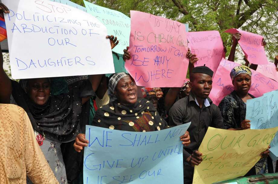 Chibok residents decry last month's Boko Haram abduction of the 276 schoolgirls during a protest in Maiduguri. Britain and the United States are assisting efforts to try to rescue the girls. Photo: For Getty Images / AFP