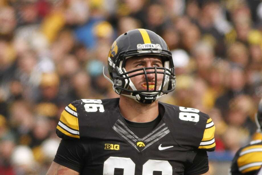 3rd round (65th overall): C. J. Fiedorowicz, TE, Iowa 6-6, 265.Weaknesses – He has problems getting separation and, despite having good hands, he's surprisingly prone to dropping easy passes. He didn't instinctively find his way back to the ball when his quarterback was scrambling. Photo: Matthew Holst, Getty Images
