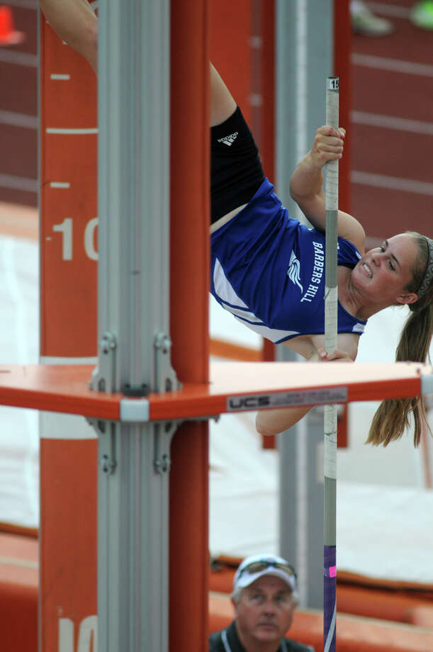 Barbers Hill senior Emily Gunderson competes in the Class 4A Girls Pole Vault during the UIL State Track & Field Championships at Mike A. Meyers Stadium in Austin on Friday. Photo: Jerry Baker, For The Chronicle