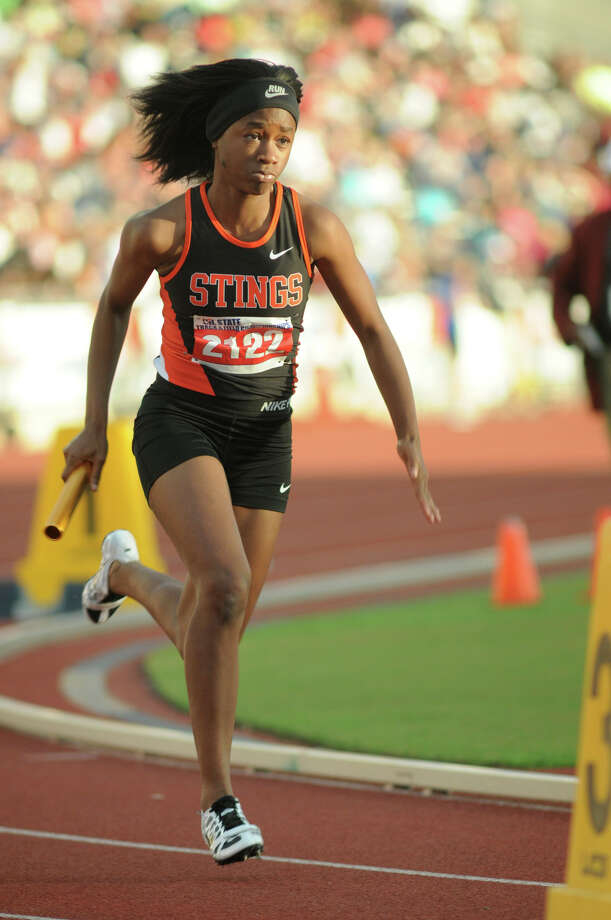 Texas City junior Lawren Crawford leaves the blocks in the Class 4A Girls 4x200 Meter Relay during the UIL State Track & Field Championships at Mike A. Meyers Stadium in Austin on Friday. Photo: Jerry Baker, For The Chronicle