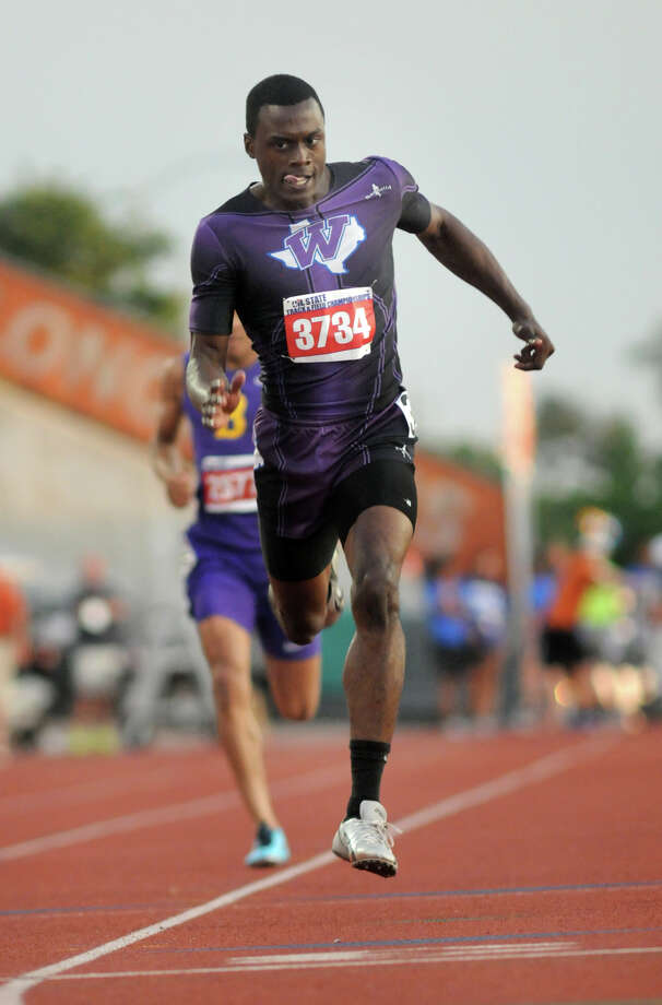 Willis senior Chris Platt pushes to the finish line in the Class 4A Boys 400 Meter Dash during the UIL State Track & Field Championships at Mike A. Meyers Stadium in Austin on Friday. Photo: Jerry Baker, For The Chronicle
