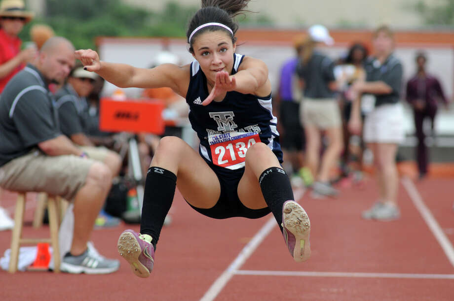 Tomball Memorial freshman Ryan Roane competes in the Class 4A Girls Triple Jump during the UIL State Track & Field Championships at Mike A. Meyers Stadium in Austin on Friday. Gunderson finished in 6th place place in the event. Photo: Jerry Baker, For The Chronicle