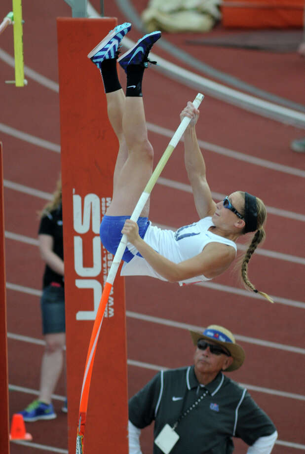 Emory Rains junior Charlotte Brown, who is legally blind, competes in the Class 3A Girls Pole Vault during the UIL State Track & Field Championships at Mike A. Meyers Stadium in Austin on Friday. Brown tied for fourth place in the event. Photo: Jerry Baker, For The Chronicle