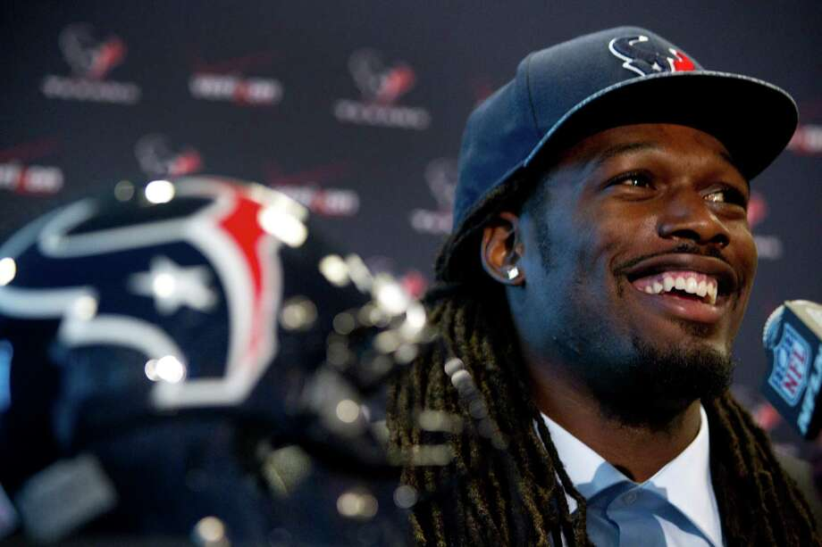 "Jadeveon Clowney arrived in town Friday with words that came as music to Texans fans' ears: ""I'm here to work and help win games."" Photo: Brett Coomer, Staff / © 2014 Houston Chronicle"