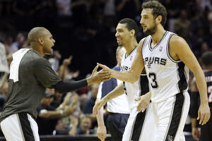 Spurs bench players such as Patty Mills (left) and Marco Belinelli have outscored Portland's bench 100-37 so far.