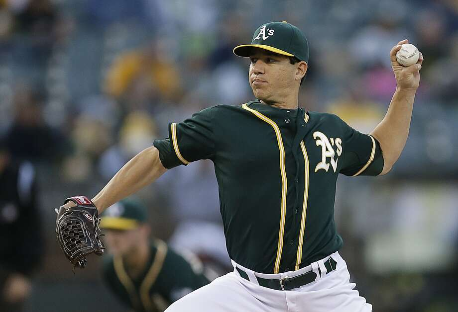 A's starter Tommy Milone, who entered with a 5.86 ERA, limited Washington to two hits in eight shutout innings. Photo: Ben Margot, Associated Press