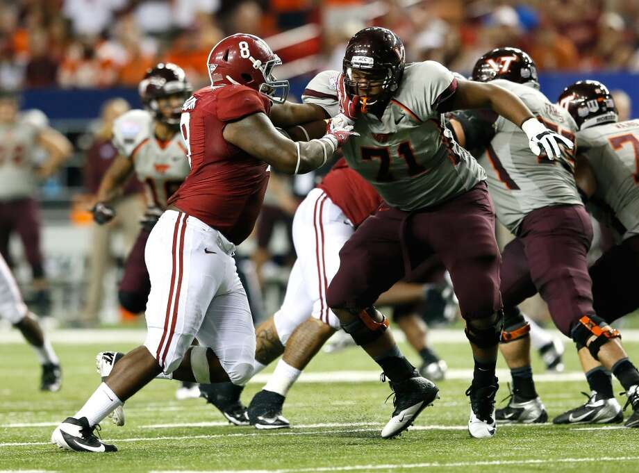 6th round (177th overall): Jeoffrey Pagan, DE, Alabama, 6-4, 310.Weaknesses – He's not much of a pass rusher, but because he can slide inside in throwing situations, that's not hugely important. The Alabama coaches, perhaps selfishly, believed he could have used another year of maturing at the college level. He tore ligaments in his knee as a high-school running back, but there doesn't appear to be any lingering issues. Photo: Kevin C. Cox, Getty Images