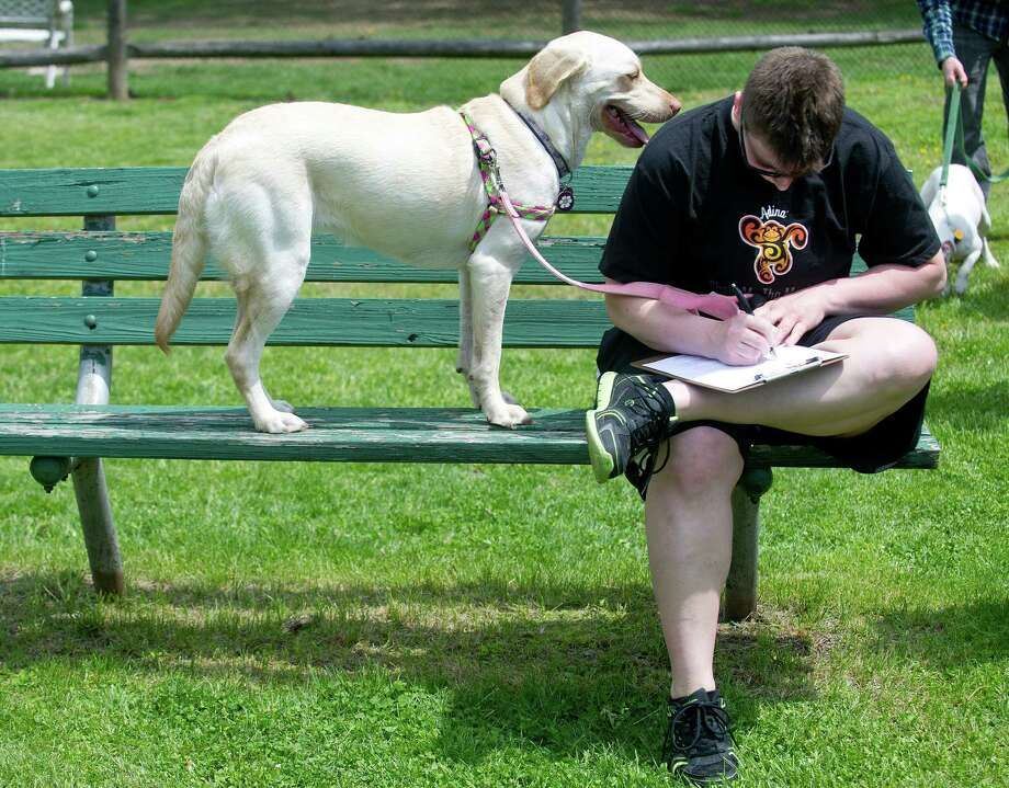 Amy Fanning fills out a form to get a microchip for her dog, Daisy, left, at the Stamford Dog Park on Saturday, May 10, 2014, the 5-year anniversary of the park. Photo: Lindsay Perry / Stamford Advocate