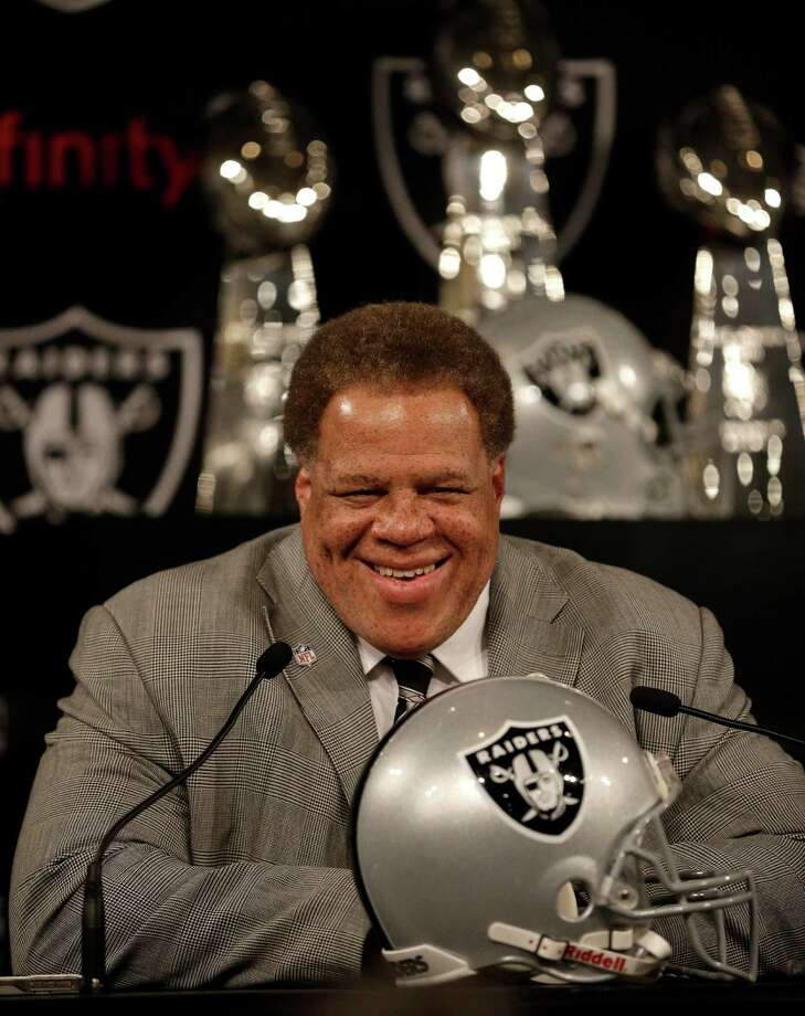 Oakland Raiders general manager Reggie McKenzie smiles during a news conference Thursday, May 8, 2014, at the Raiders' practice facility in Alameda, Calif. The Raiders found the pass rusher they wanted when they selected Buffalo linebacker Khalil Mack with the fifth overall pick in the first round of the NFL draft Thursday night. (AP Photo/Ben Margot) Photo: Ben Margot, STF / Associated Press / AP