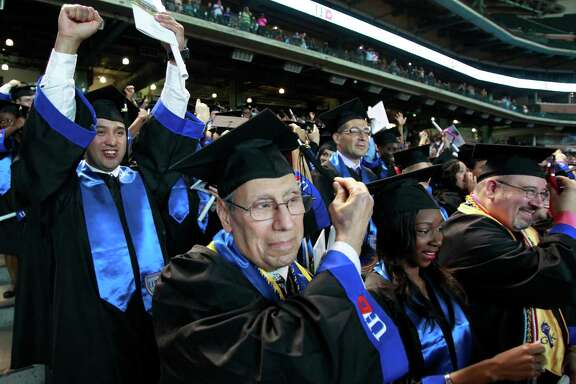 Philip Karam, a 67-year-old Vietnam veteran, was the oldest in his class at the University of Houston Downtown to earn a diploma Saturday.