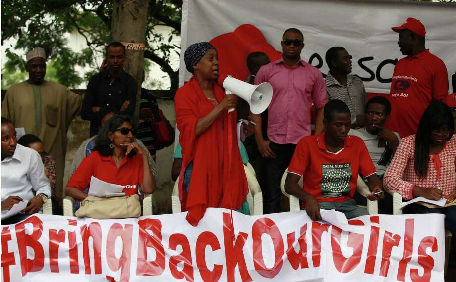 A woman speaks during a rally calling on the Nigerian government to rescue the hundreds of schoolgirls kidnapped from a secondary school April 15. Photo: Sunday Alamba / Associated Press / AP