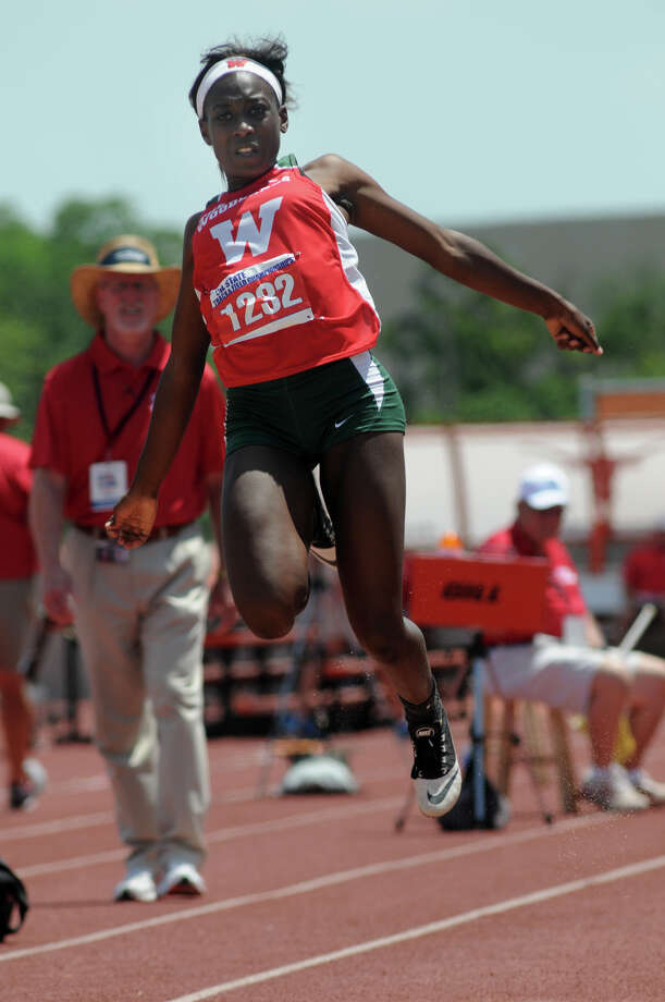 The Woodlands sophomore Tessa Mpagi competes in the Class 5A Girls Long Jump during the UIL State Track & Field Championships at Mike A. Meyers Stadium in Austin on Saturday. Photo: Jerry Baker, For The Chronicle