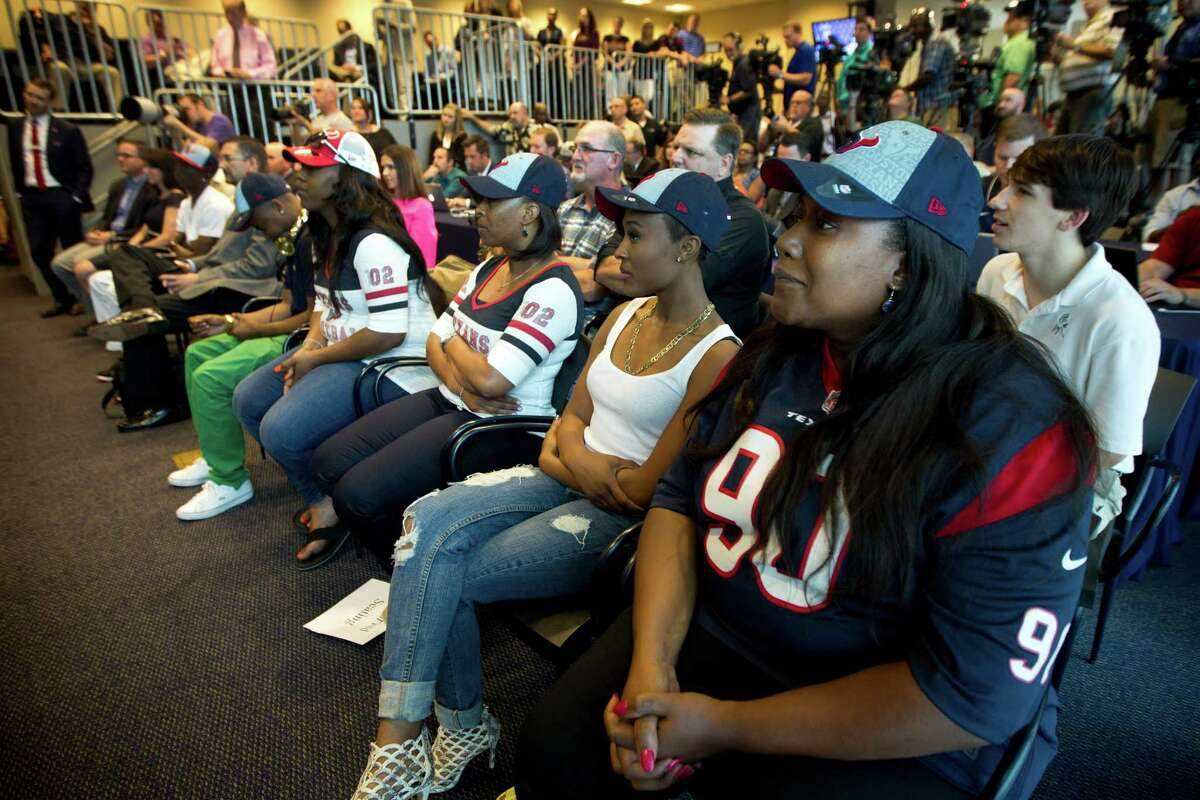 Josenna Clowney, mother of Texans No. 1 draft pick Jadeveon Clowney, looks on proudly from the front row during her son's news conference Friday.