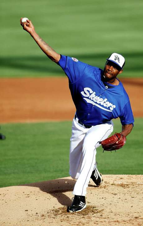 Tracy McGrady made his long-awaited debut with the Skeeters, starting against Somerset on Saturday. His pitching line - 12⁄3 innings, two hits allowed, two earned runs, two walks and no strikeouts. Photo: Karen Warren, Staff / © 2014 Houston Chronicle
