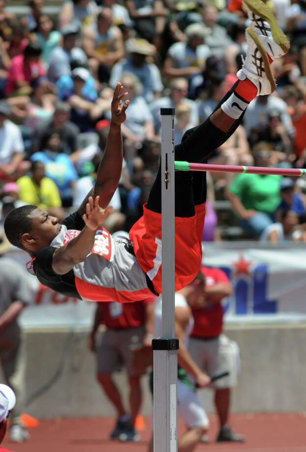 South Houston senior Elton Dyer clears the bar in the Class 5A Boys High Jump during the UIL State Track & Field Championships at Mike A. Meyers Stadium in Austin on Saturday. Photo: Jerry Baker, For The Chronicle