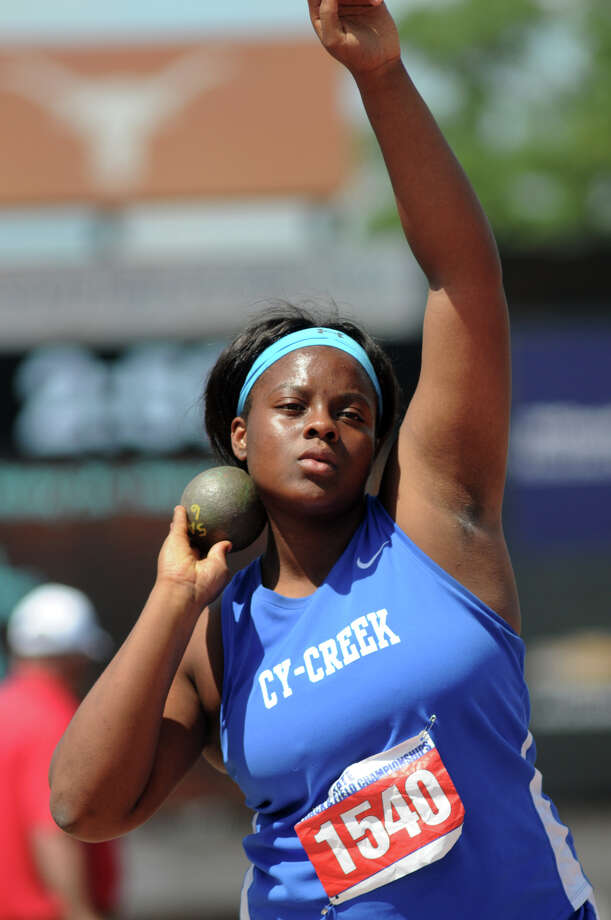 Cy-Creek junior Meia Gordon gets set for a throw in the Class 5A Girls Shot Put competition during the UIL State Track & Field Championships at Mike A. Meyers Stadium in Austin on Saturday. Photo: Jerry Baker, For The Chronicle