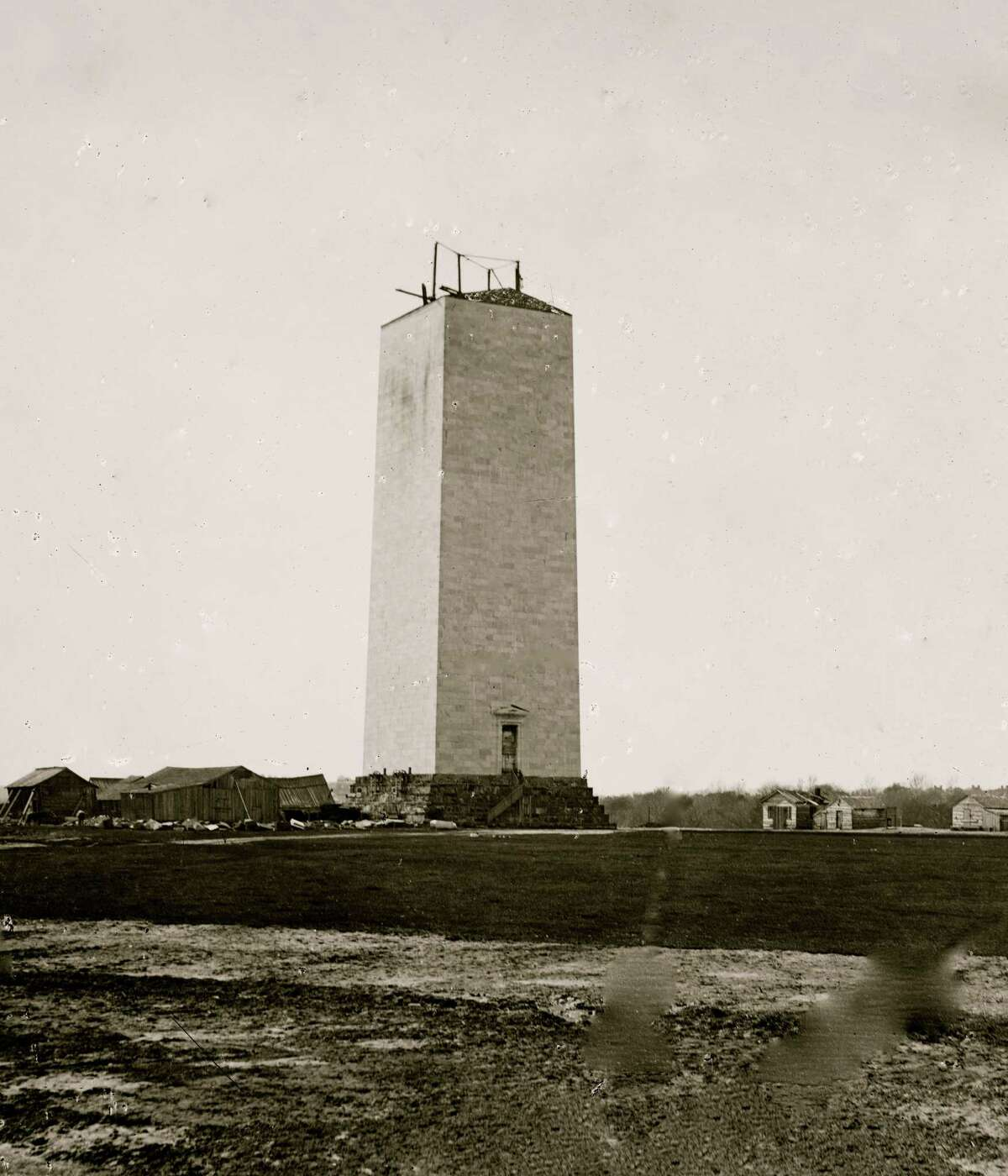 A view of the stalled construction of the Washington Monument in 1864. The Civil War interrupted construction, which began in 1848 but was not finished until 1884.
