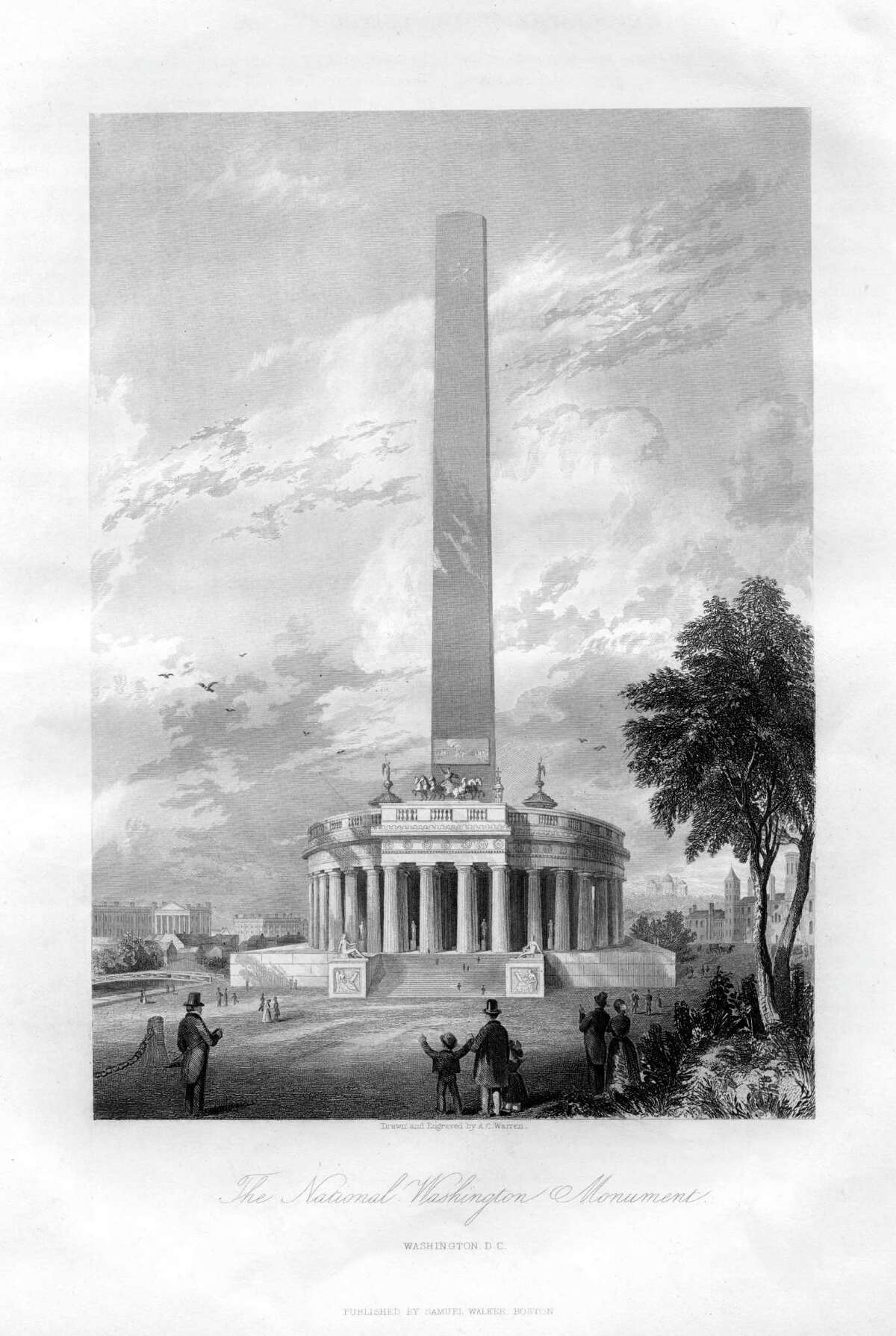 A print from the History and Topography of the United States of North America, by John Howard Hinton, Volume 2, Samuel Walker, Boston, 1855, of the National Washington Monument shows the original plans for the monument, on which construction began in 1848. The colonnade at the monument's base, which was intended to house statues of thirty heroes of the War of Independence in the original design, was never built.