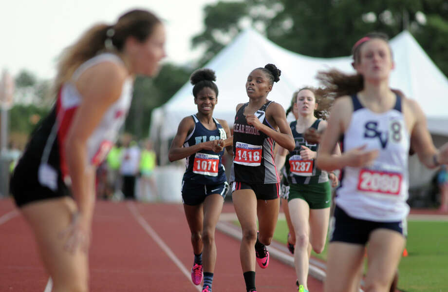 Clear Brook junior Maygen Smith, center, finishes the Class 5A Girls 800 Meter Run during the UIL State Track & Field Championships at Mike A. Myers Stadium in Austin on Saturday. Photo: Jerry Baker, For The Chronicle