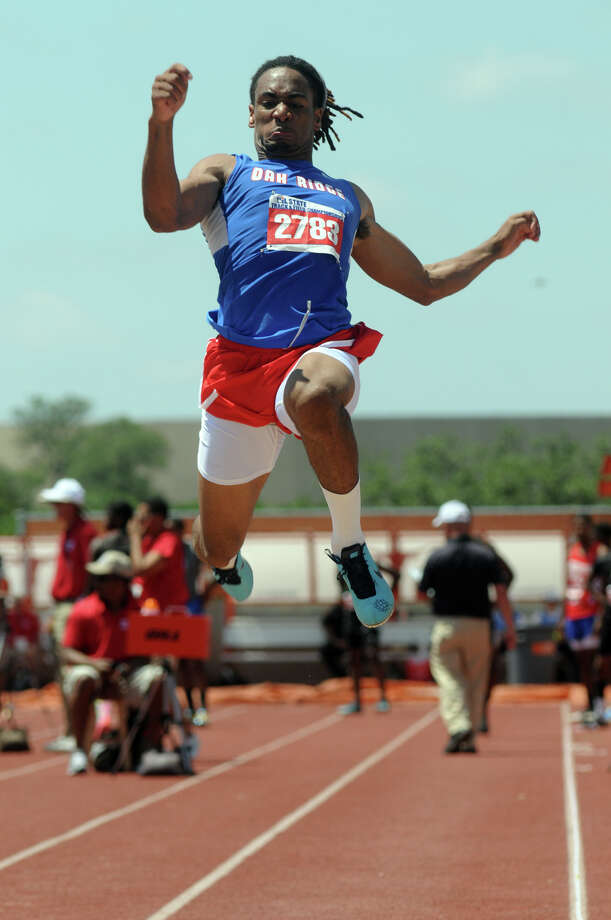 Oak Ridge senior Trumaine Jefferson competes in the Class 5A Boys Long Jump during the UIL State Track & Field Championships at Mike A. Meyers Stadium in Austin on Saturday. Photo: Jerry Baker, For The Chronicle