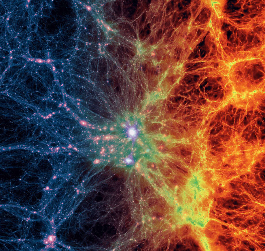 This image provided by the Illustris Collaboration in May 2014 shows dark matter density, left, transitioning to gas density, right, in a simulation of the evolution of the universe since the Big Bang. The new computer simulation that reproduces features -- such as galaxy distribution and composition -- more accurately than previous ones is described in the Thursday, May 8, 2014 issue of the journal Nature. Previous attempts have broadly reproduced the web of galaxies, but failed to create mixed populations of galaxies or predict gas and metal content. The new model correctly predicts characteristics described in observational studies, and represents a considerable step forward in modeling galaxy formation. Photo: Uncredited, AP  / AP2014