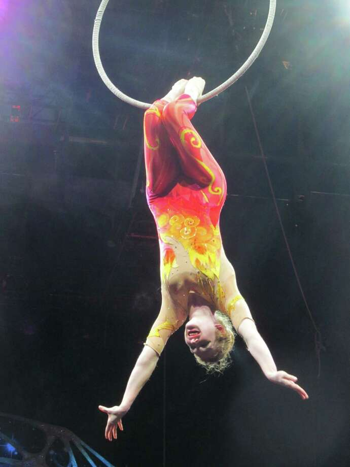 In this undated  family photo, Samantha Pitard performs a heel hang from the lyra (aerial hoop) during the Ringling Bros. and Barnum & Bailey Legends pre-show. Pitard was one of eight acrobats performing a hair-hanging stunt on Sunday May 4, 2014 during a Ringling Bros. and Barnum & Bailey circus when a clip at the top of the chandelier-like apparatus snapped. Pitard was the first of the acrobats to be released from the hospital. Photo: AP  / AP2014