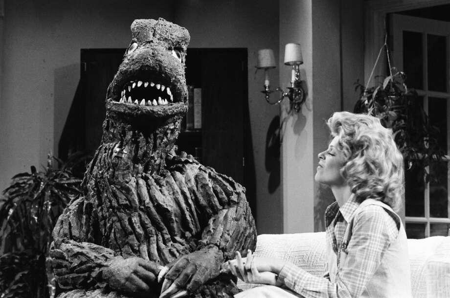 "Baba Wawa (Gilda Radner) interviews Godzilla on ""Saturday Night Live"" in 1977. Photo: NBC, NBC Via Getty Images"