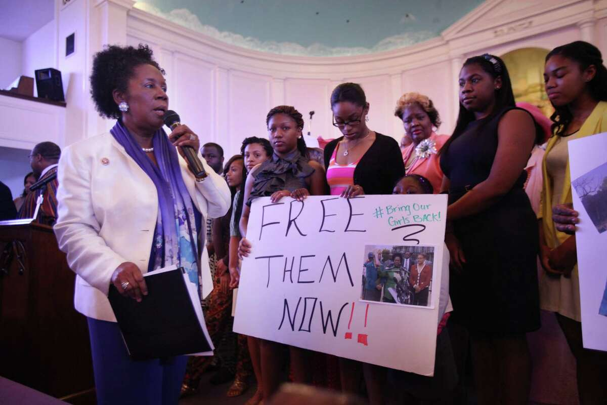 U.S. Rep. Sheila Jackson Lee, D-Texas, spoke Sunday at St. John Missionary Baptist Church, where members of Houston's Nigerian community and others hoped to bring more attention to 276 abducted schoolgirls.