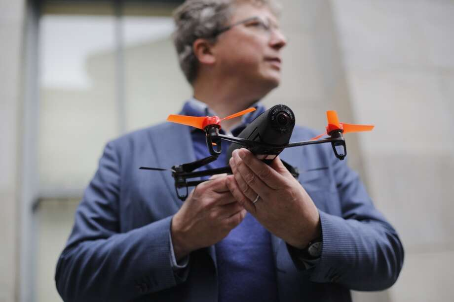 Parrot founder and CEO Henri Seydoux shows off the companies newest drone called the Beebop the at San Francisco Mint on Thursday May 8, 2014 in San Francisco, California Photo: Mike Kepka, The Chronicle