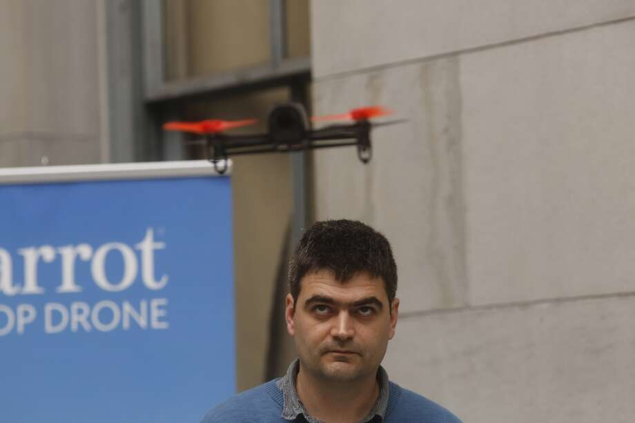 Parrot product manager Francois Callou flies the companies newest drone called the Beebop the at San Francisco Mint on Thursday May 8, 2014 in San Francisco, California Photo: Mike Kepka, The Chronicle