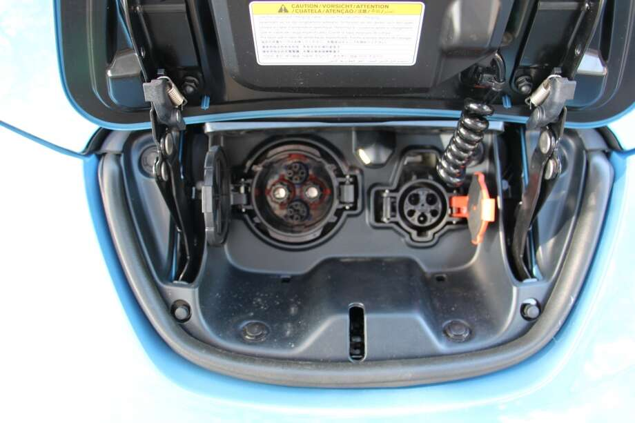 The 240-volt charging port (left) and the 120-volt port.