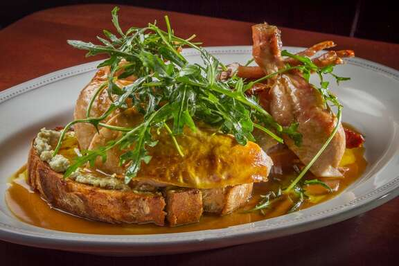 Tosca Cafe: Roast chicken  Some people think chicken is diet food — how many skinless boneless breasts can one weight-obsessed person eat? But forget all that and check out the rich and decadent roast whole bird from April Bloomfield. The chicken is served on a platter, family style, the carved bronzed pieces balanced on a thick slice of toast that's been dipped in the juices and spread with a ricotta-pine nut stuffing. The subtle caramel flavor of Marsala sauce enhances the crisp skin and succulent flesh.  242 Columbus Ave., San Francisco; (415) 986-9651. www.toscacafesf.com.