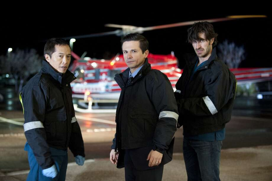 THE NIGHT SHIFT -- Pilot -- Pictured: (l-r) Ken Leung as Topher, Freddy Rodriguez as Michael Ragosa, Eoin Macken as TC Callahan. Photo: NBC, Lewis Jacobs/NBC
