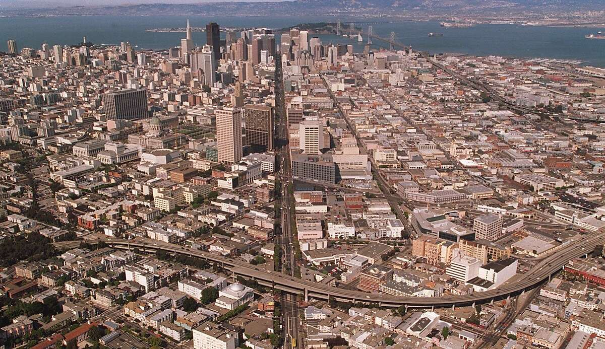 The Central Freeway, (bottom of picture) looking east towards downtown in 1996. The section shown is part that was torn down was between Fell and Mission Streets.