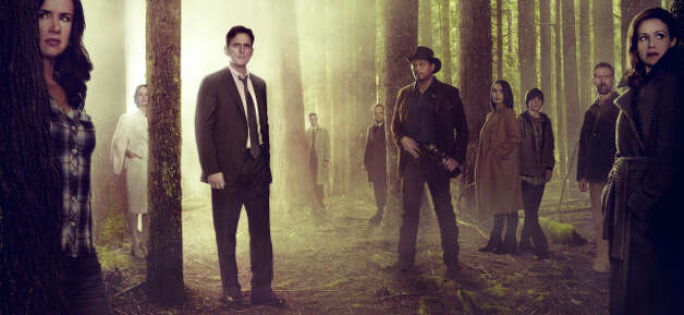 """WAYWARD PINES:  Based on a best-selling novel and brought to life by suspenseful storyteller M. Night Shyamalan (""""The Sixth Sense""""), WAYWARD PINES is an intense, mind-bending 10-episode thriller starring Academy Award nominee Matt Dillon (""""Crash"""") as a Secret Service agent on a mission to find two missing federal agents in the bucolic town of Wayward Pines, ID. Every step closer to the truth makes him question if he will ever get out of Wayward Pines alive.  WAYWARD PINES will join the schedule in 2015 on Fox.  Pictured L-R:  Juliette Lewis, Melisa Leo, Matt Dillon, Tim Griffin, Toby Jones, Terrence Howard, Shannyn Sossamon, Charlie Tahan, Reed Diamond and Carla Gugino. ©2014 Fox Broadcasting Co.  Cr:  Frank Ockenfels/FOX Photo: FOX / 1"""