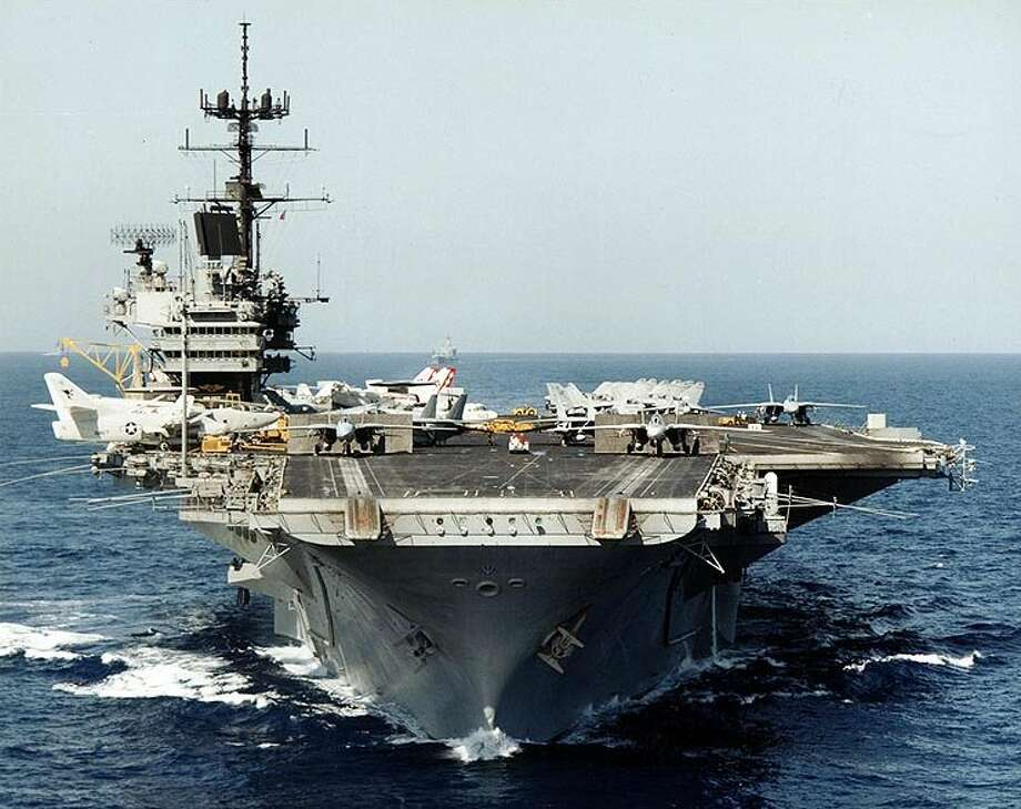 USS Saratoga (CV-60) under way in 1985. The historic aircraft carrier arrived in Brownsville on Friday and will be dismantled. Photo: Wikimedia