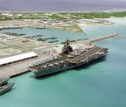 USS Saratoga docked at Diego Garcia, the first aircraft carrier to do so. The historic aircraft carrier arrived in Brownsville on Friday and will be dismantled. Photo: Wikimedia