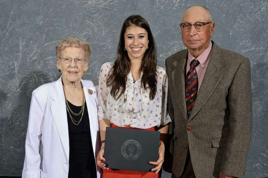 Betty and Albert Rutledge present the Janet Rutledge Smith Memorial Scholarship to Samantha Bilko (center) of New Canaan, Conn. Photo: Contributed Photo, Contributed / New Canaan News Contributed