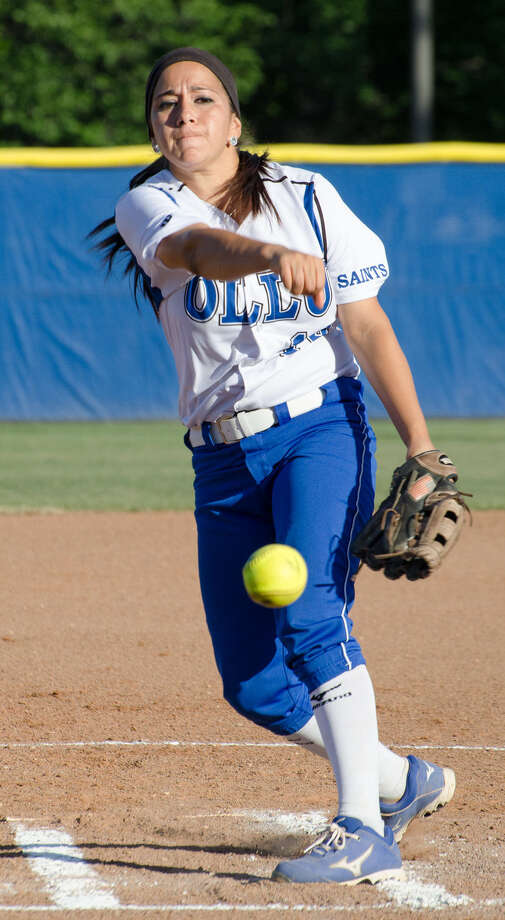Katrisha Arocha throws the ball in this photo taken earlier this year. She's a junior on Our Lady of the Lake University softball team. Photo: Courtesy, Our Lady Of The Lake University / 2014