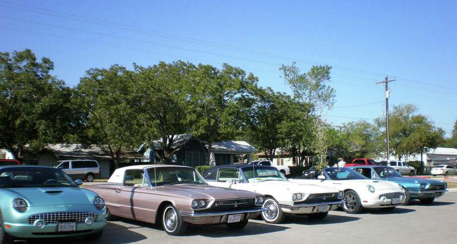 A row of classic Ford Thunderbirds sit proudly at a South Texas Thunderbird Club car show in Cibolo. The club will be having another show at Red McCombs on Saturday. Photo: Courtesy, South Texas Thunderbird Club