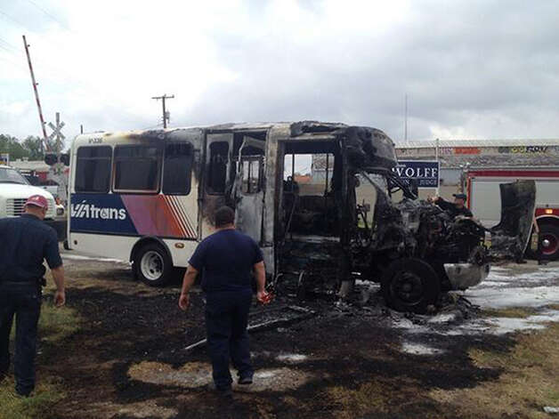 A VIA Metropolitan Transit paratransit van caught fire Monday afternoon but the cause remains unknown. The driver, who was not hurt, was traveling west on Culebra Road near Interstate 10 when he smelled smoke. There were no passengers in the vehicle at the time. Photo: Joey Palacios