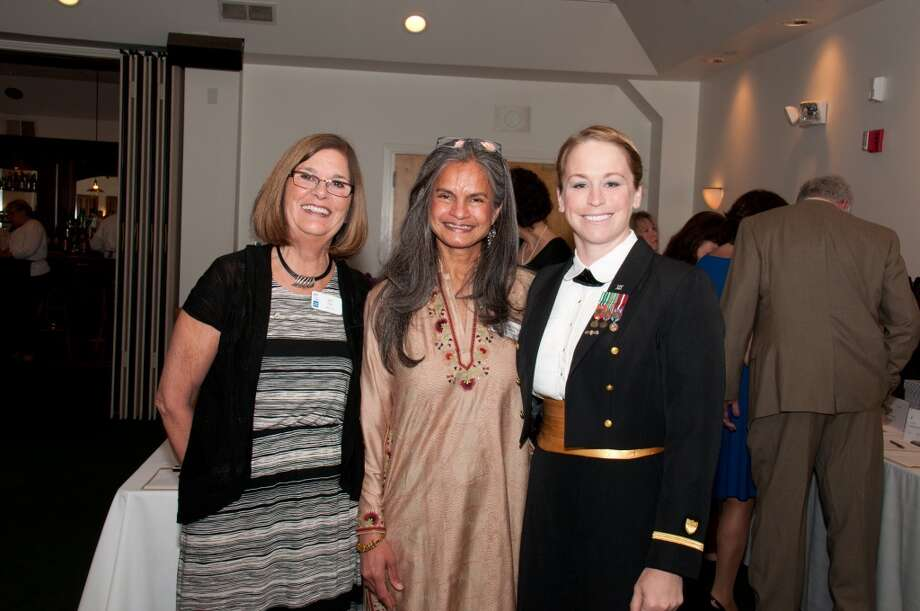 (from the left) Joy Kiss, CEO, ABRI Homes for the Brave; Shalini Madaras, Board Chair, ABRI/Homes for the Brave and Gold Star Mother; Jessica Shafer, Officer, United States Coast Guard and member of the Salute 2014 Gala Committee. Photo: Roger Salls, Contributed Photo