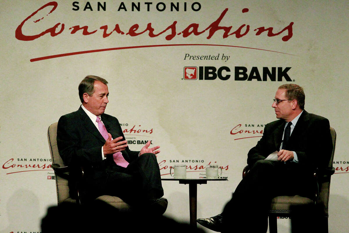 U.S. House Speaker John Boehner (left) speaks Monday May 12, 2014 at the Marriott Rivercenter in San Antonio. Boehner was in town for a conversation with Texas Tribune Editor-in-Chief Evan Smith (right) while on a fundraising trip in Texas. Boehner was sworn in as U.S. House Speaker in 2011.