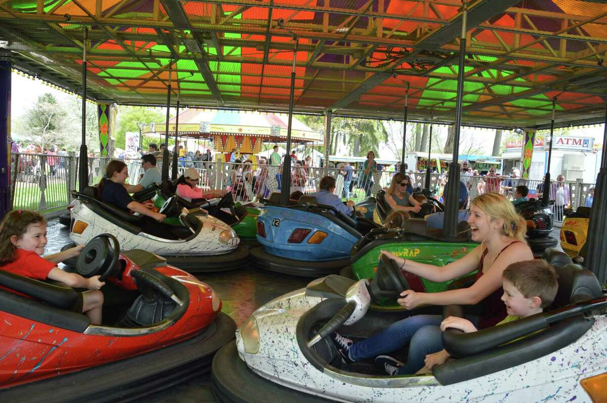 The bumper cars were one of the many attractions at the 65th annual May Fair at St. Mark's Episcopal Church in New Canaan on Saturday, May 10. Jarret Liotta / For the New Canaan News